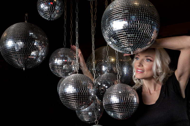 Woman disco mirror ball royalty free stock image