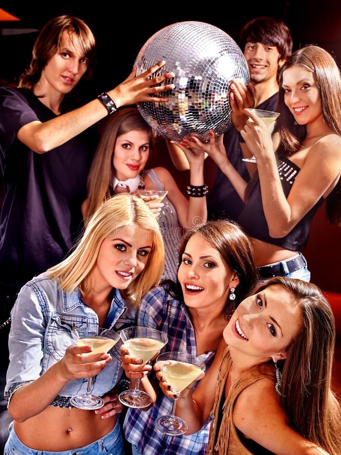 Woman on disco in night club stock photos
