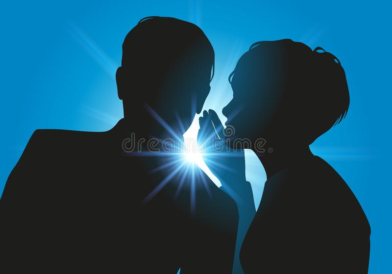 A woman confides in her husband, talking to her discreetly vector illustration