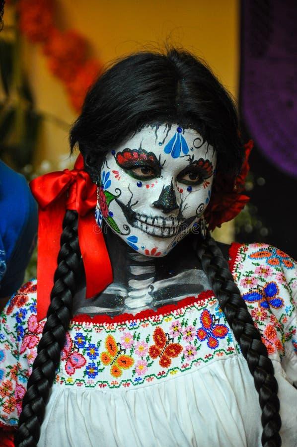 Woman disguised for Dia de los Muertos, Puebla, Mexico stock photos