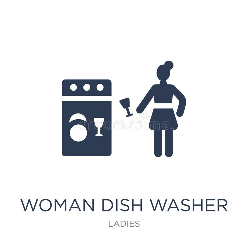 Woman Dish Washer icon. Trendy flat vector Woman Dish Washer icon on white background from Ladies collection vector illustration