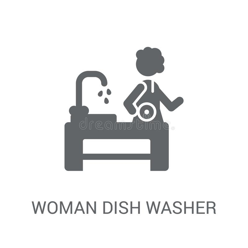Woman Dish Washer icon. Trendy Woman Dish Washer logo concept on royalty free illustration
