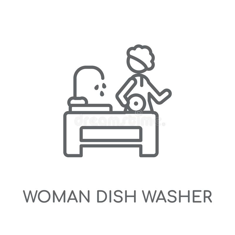 Woman Dish Washer linear icon. Modern outline Woman Dish Washer royalty free illustration
