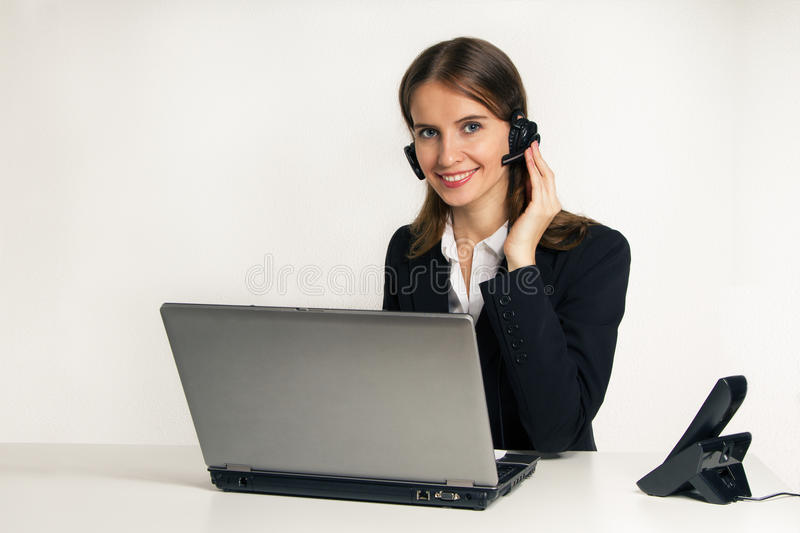 The woman dispecher operator stock photography