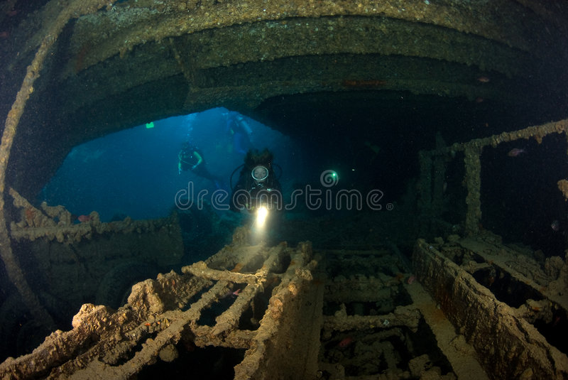 Woman Diver On Ship Wreck Stock Photography