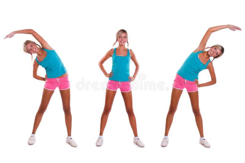 Woman do exercises stock image