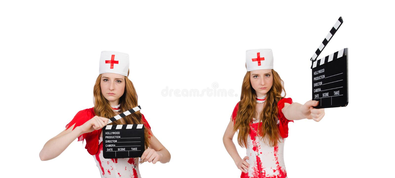 Woman doctor in bloody uniform with movie clapperboard royalty free stock photography