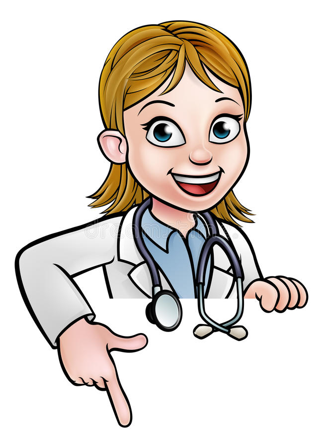 Woman Doctor Cartoon Character Pointing stock illustration