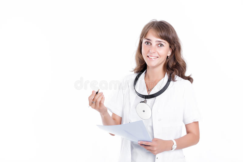 Woman doctor ENT. Female ENT doctor with a folder writes the prescription. doctor with front reflector royalty free stock image