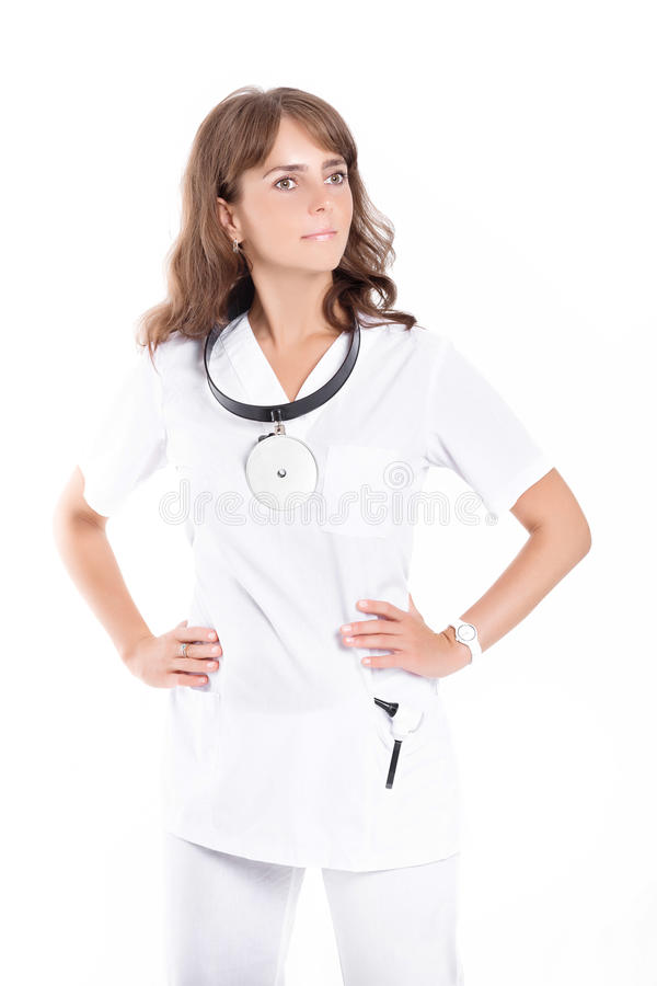 Woman doctor ENT. With frontal reflector royalty free stock photography