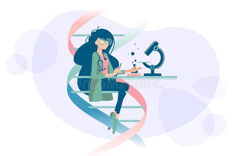 Woman doctor examines DNA microscope. Woman doctor scientist examines human DNA using microscope. Vector illustration royalty free illustration