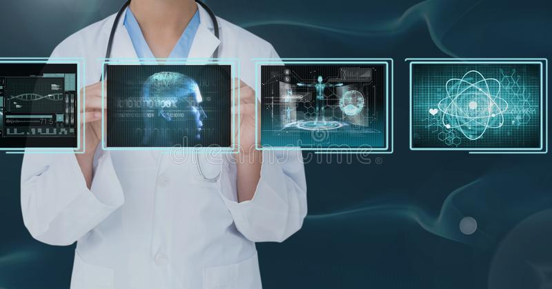 Woman doctor interacting with medical interfaces against bluebackground. Digital composite of Woman doctor interacting with medical interfaces against stock photos