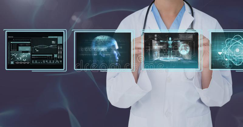 Woman doctor interacting with medical interfaces against purple background. Digital composite of Woman doctor interacting with medical interfaces against purple stock images