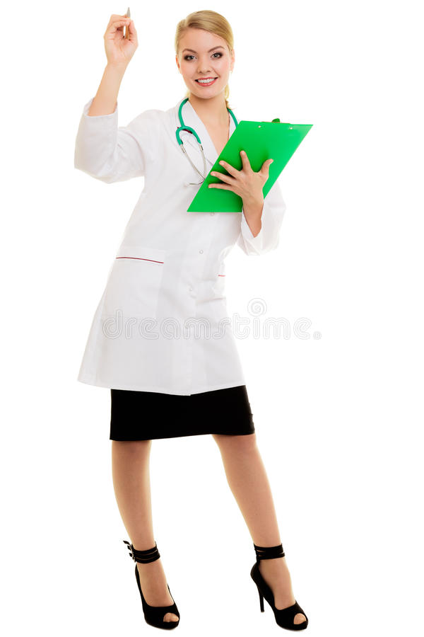 Woman doctor in lab coat with stethoscope. Medical royalty free stock photos