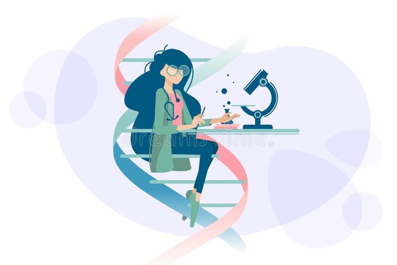 Woman doctor examines DNA microscope. Woman doctor scientist examines human DNA using microscope. illustration stock illustration
