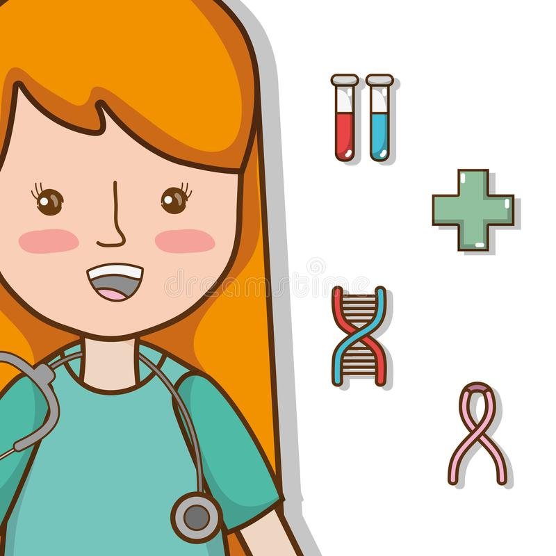 Woman Doctor Cute Cartoon Stock Vector. Illustration Of