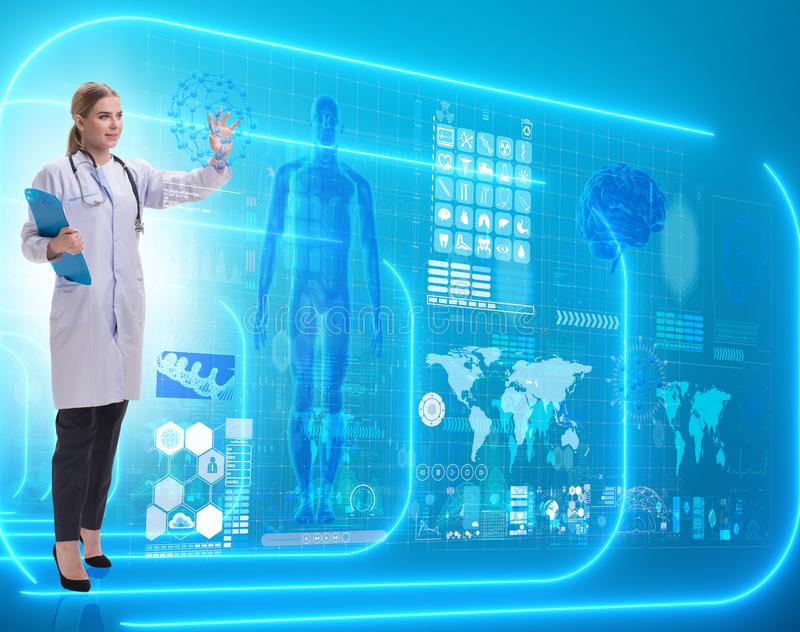 Woman doctor in telemedicine futuristic concept royalty free stock images