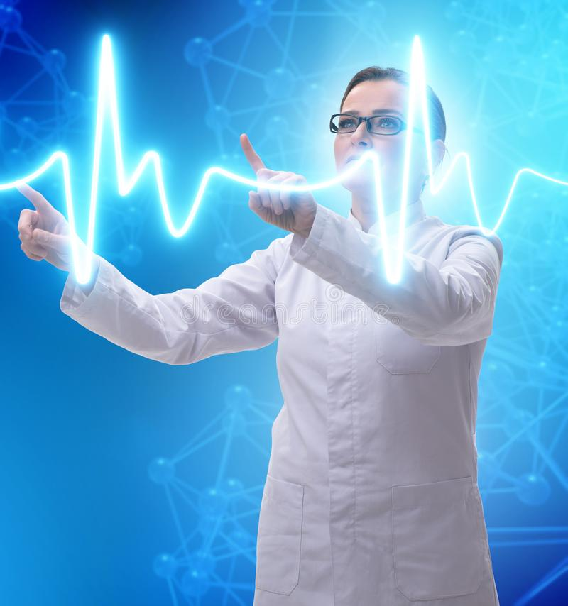 Woman doctor in telemedicine futuristic concept stock photo