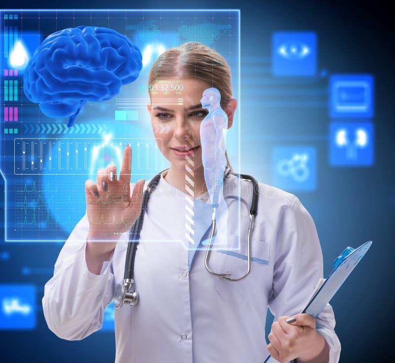 Woman doctor in telemedicine futuristic concept stock photography