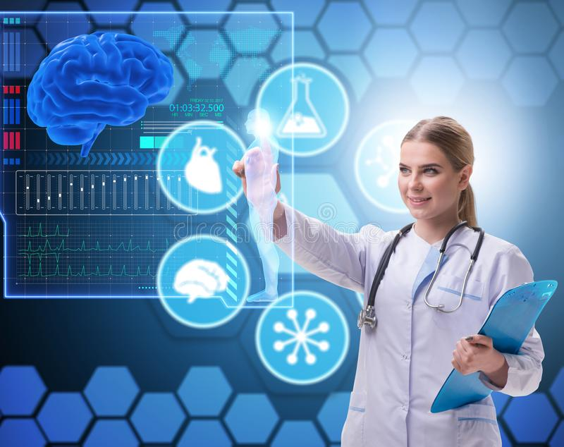 Woman doctor in telemedicine futuristic concept stock photography