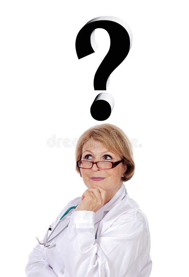 Woman doctor thinking of diagnosis stock image