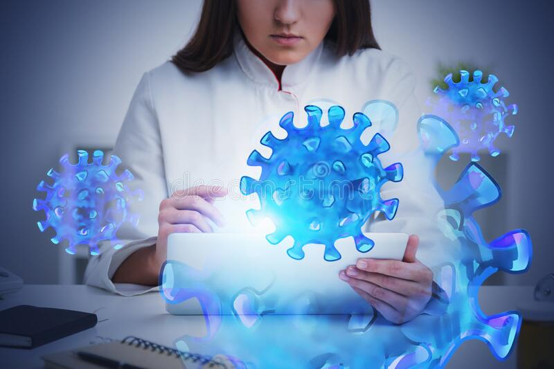 Woman doctor using tablet in office, coronavirus. Unrecognizable woman doctor using tablet computer in her blurry office with double exposure of coronavirus vector illustration