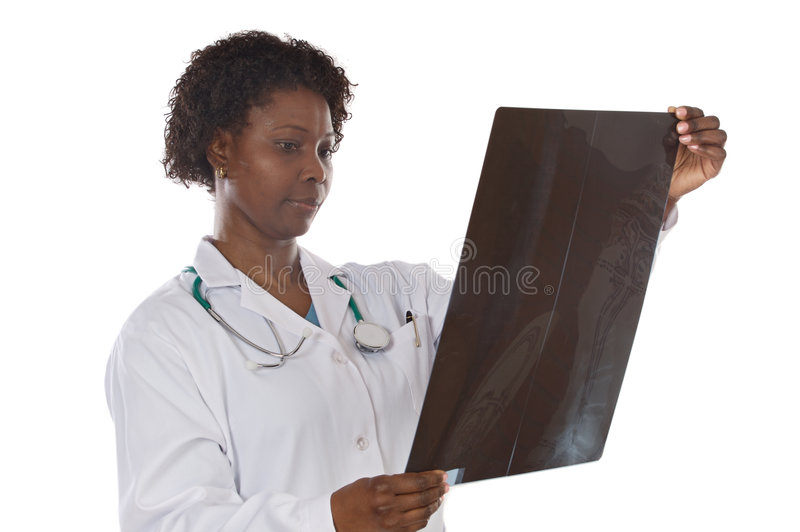 Woman doctor whit radiography stock photography