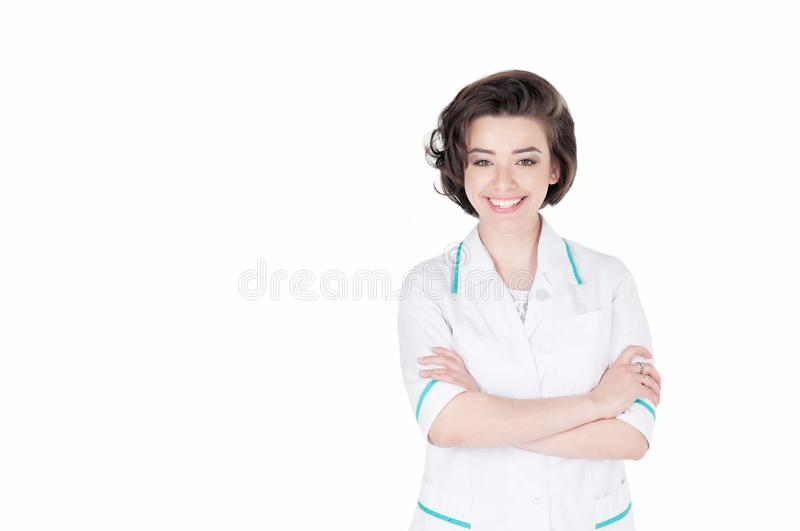 Woman doctor in white medical gown coat isolated on white background. Lab royalty free stock photo