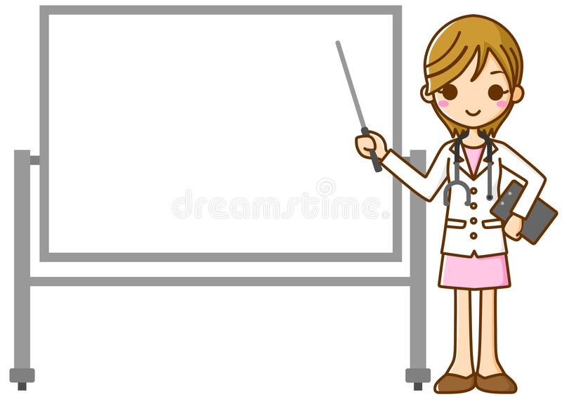 Woman doctor and Whiteboard royalty free illustration
