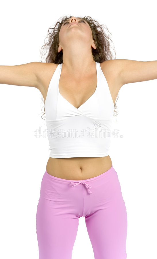 Woman does exercise. Isolated woman does exercise stock photos