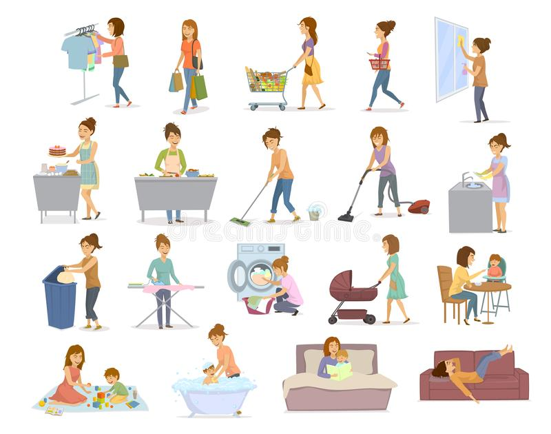 Woman does daily home chores, housekeeping, househod activities like washing vacuum cleaning shopping cooking take care, playing w royalty free illustration