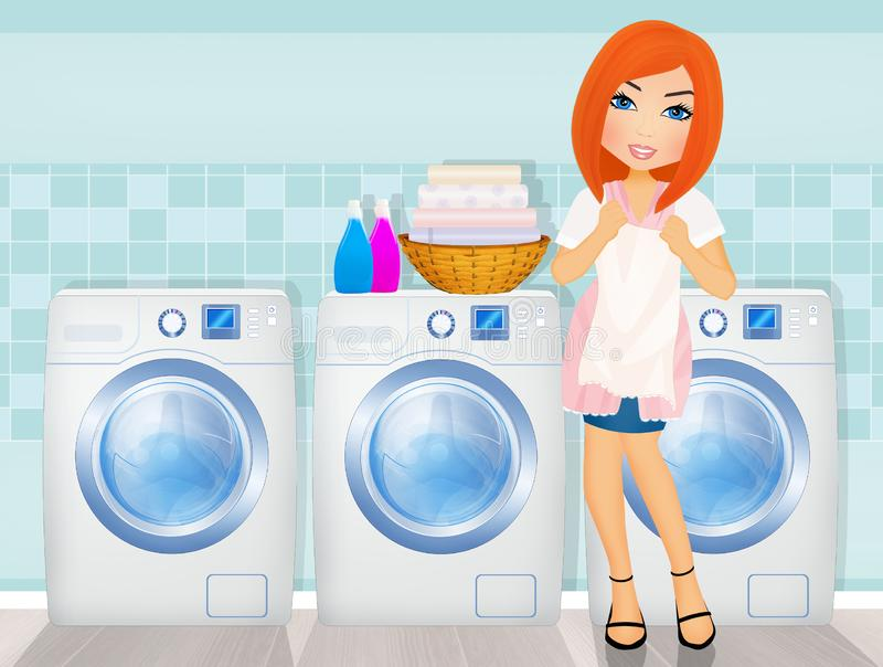 Woman does laundry in the laundry room. Illustration of woman does laundry in the laundry room royalty free illustration