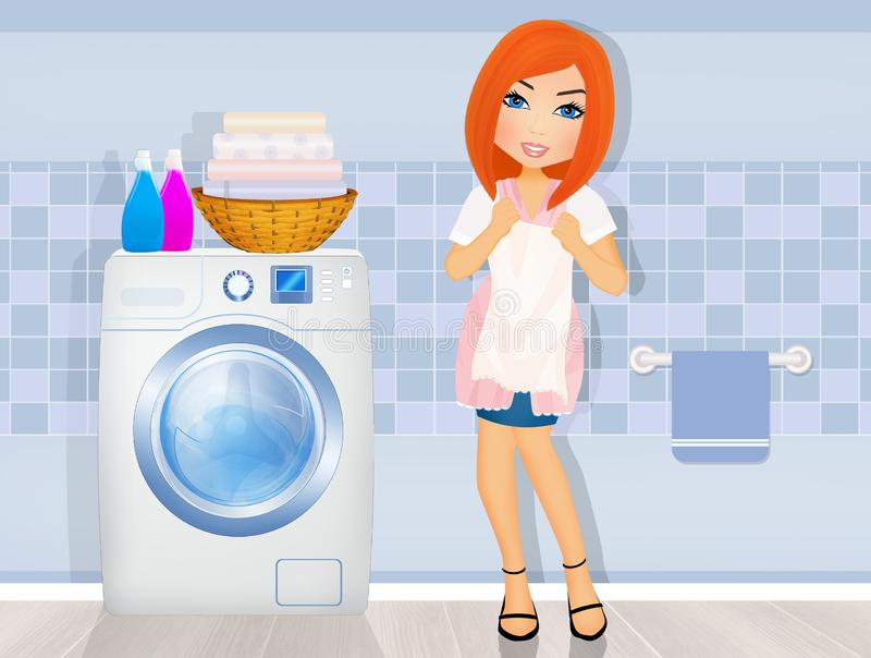 Woman does laundry in the laundry room. Illustration of woman does laundry in the laundry room stock illustration