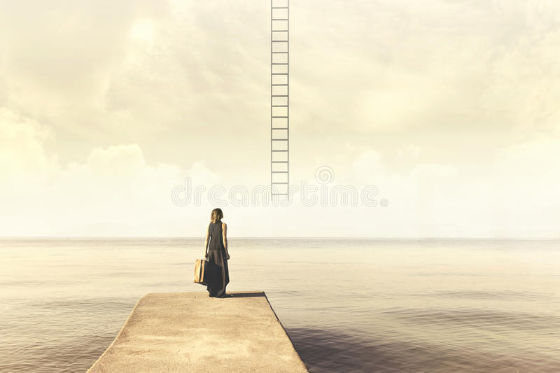 Woman does not know if climb up a staircase from the sky to a disenchanted destination. Indecisive woman does not know if climb up a staircase from the sky to a stock photography