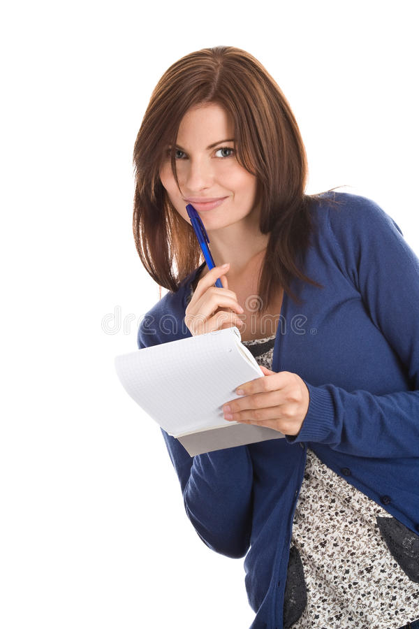 Download Woman Does Records By Pen In Notepad Stock Image - Image: 10834675