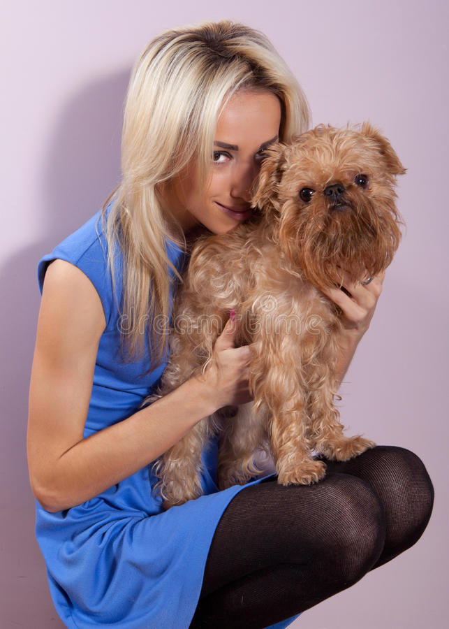 Download Woman with a dog stock image. Image of golden, indoor - 22720207