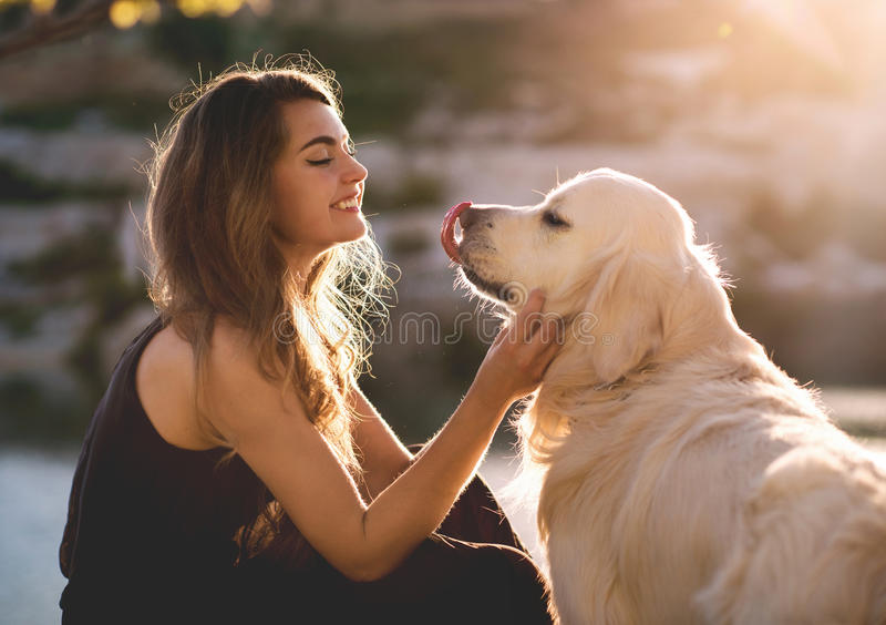 Woman and Dog royalty free stock image