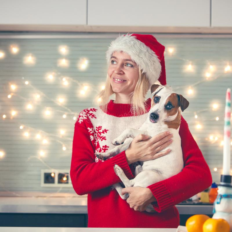 Woman with dog at christmas hat stock photography
