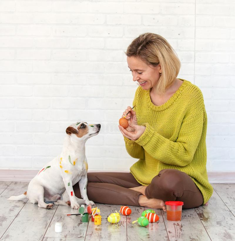 Woman and dog color Easter eggs. Female with pet painting stock photo