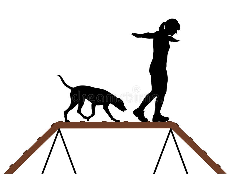 Download Woman and dog on dogwalk stock vector. Image of silhouette - 20102244