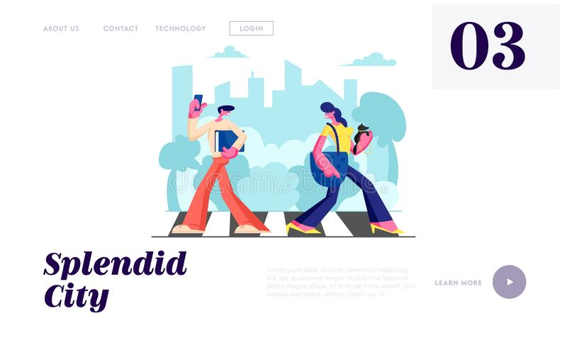 Woman with Dog and Man with Phone Walking Crosswalk in Metropolis, City Dwellers Lifestyle, Hurry at Work, Traffic, Weekend. Website Landing Page, Web Page royalty free illustration