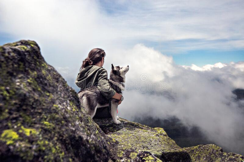 Woman And Dog In Mountains Free Public Domain Cc0 Image