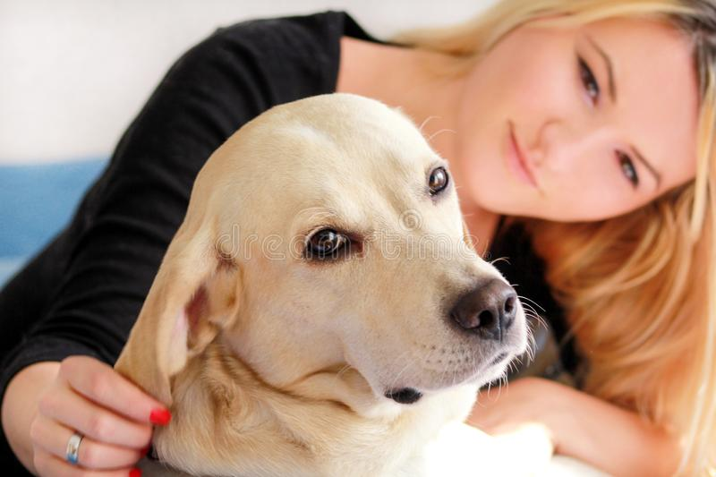 Woman with dog is resting in bed at home, relaxing in bedroom. Girl is petting with her dog. Portrait of cute yellow labrador. Woman with dog is resting in bed stock images