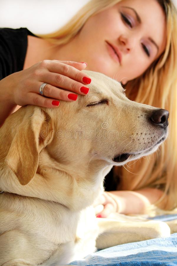 Woman with dog is resting in bed at home, relaxing in bedroom. Girl is petting with her dog. Portrait of cute yellow labrador. royalty free stock photo