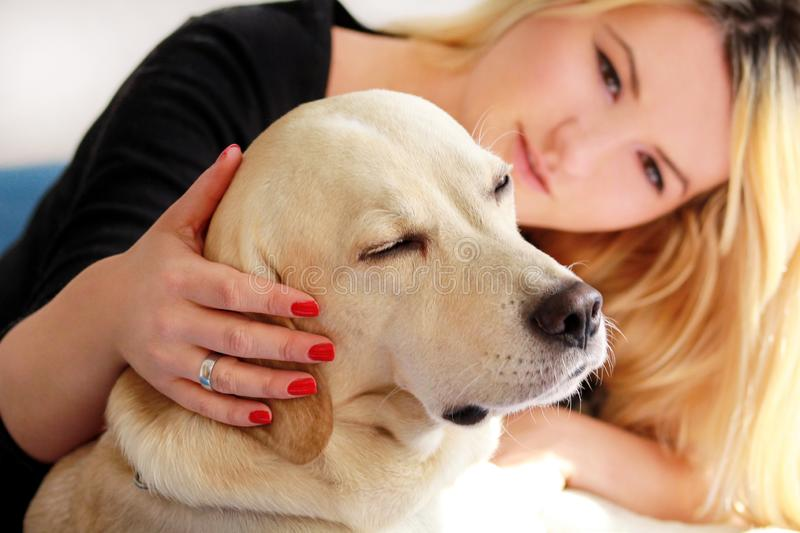 Woman with dog is resting in bed at home, relaxing in bedroom. Girl is petting with her dog. Portrait of cute yellow labrador. Woman with dog is resting in bed royalty free stock photos