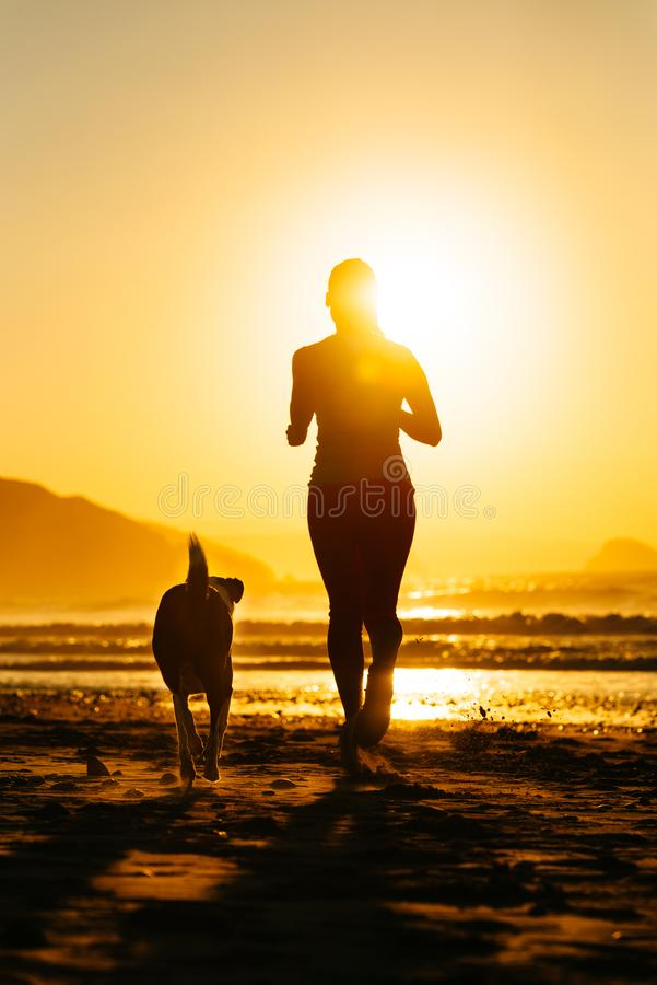 Woman and dog running towards the sun. Silhouette of woman and dog running together on summer sunset at the beach towards the sun. Healthy exercise and lifestyle stock photography