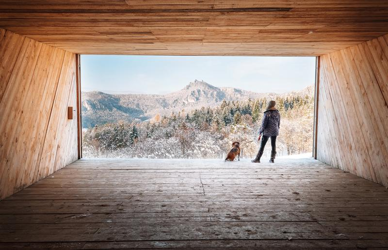 Woman with dog stay in big wooden hangar and looks on snowy mountains royalty free stock photos