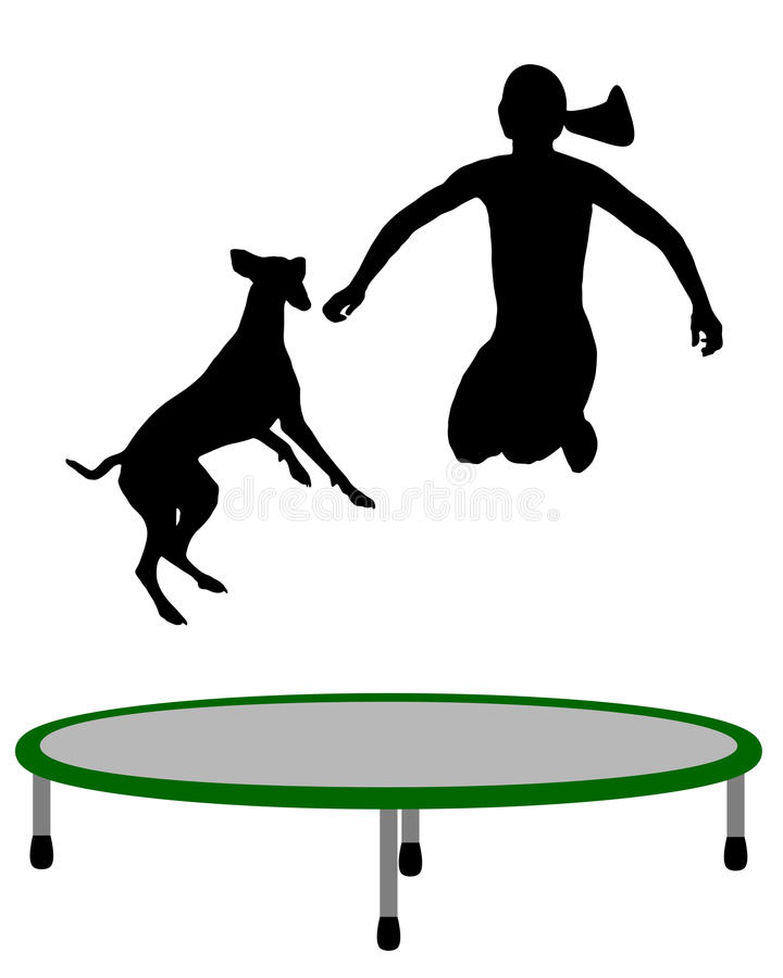 Download Woman and dog trampoline stock vector. Illustration of graphic - 20102211