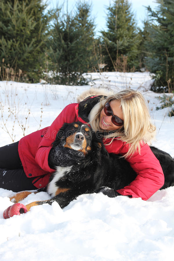 Download Woman and dog in winter stock image. Image of female - 23474001