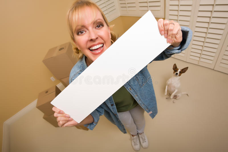 Download Woman And Doggy With Blank Sign Near Moving Boxes Stock Images - Image: 17997914